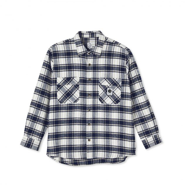 COLOUR: NAVY 100% COTTON 215 GSM SOFT BRUSHED FLANNEL FABRIC CUSTOMISED BUTTONS WOVEN LABEL REGULAR FIT MADE IN PORTUGAL Polar Skate Co.