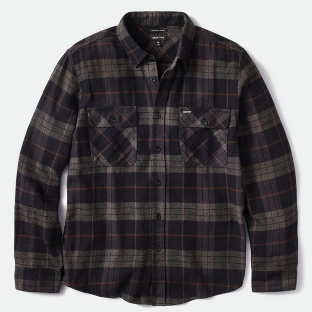 brixton-bowery-l-s-flannel-black-charcoal
